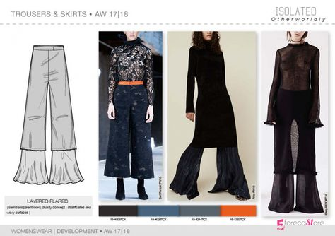 Trousers & Skirts flat drawings, vector technical sketches for Fall winter Trend forecasting by dsign tribe™