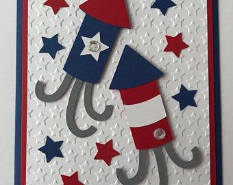 Handmade 4th Of July Card A2 Independence Day Etsy Patriotic Christmas Cards Cards Simple Birthday Cards