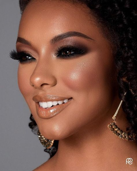 Onwijs Bruids make-up natuurlijke donkere huid zwarte vrouwen ogen 52 XB-56