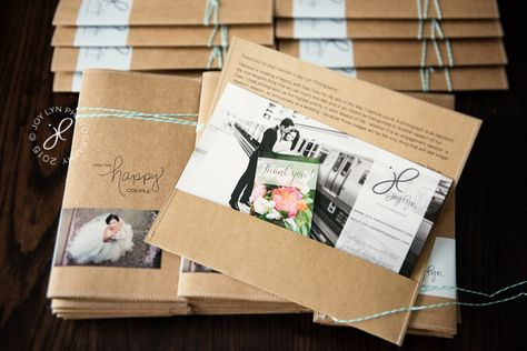 handmade envelopes for bridal show handouts, kraft paper, tied with bakers twine.