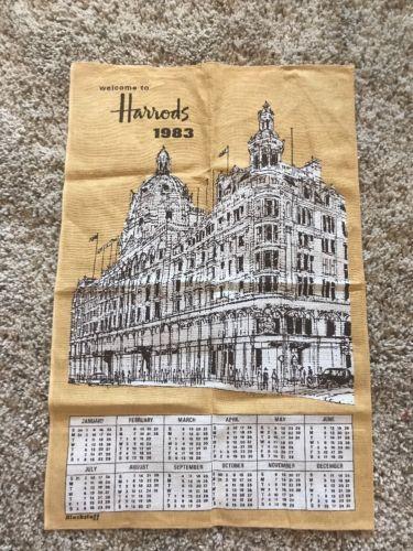 Harrods 1983 Linen Dish Cloth Calendar By Blackstaff United