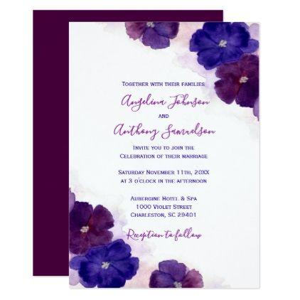 Purple Plum Royal Blue Watercolor Floral Wedding Invitation