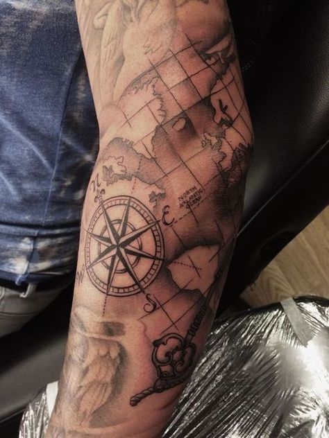 Check out our website for more Tattoo Ideas 👉 positivefox.com #shouldertattoos #forearmtattoos #compasstattoo