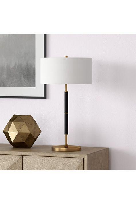 Addison And Lane Simone Brass Finish Black Table Lamp Hautelook Black Table Lamps Table Lamp Lamp