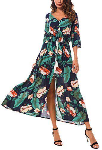 new product beaa1 bb153 Damen Lange Bohemian Kleid mit all-over schönen Blumendruck ...