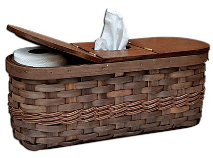 Store A Box Of Tissues And Spare Rolls Of Toilet Paper In Our Walnut Tank Tissue Caddy Basket Primitive Bathrooms Toilet Tank