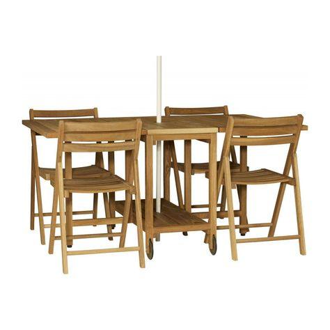 Table Pliante Et 4 Chaises En Chene Massif Huile 150 X 95 Cm In 2020