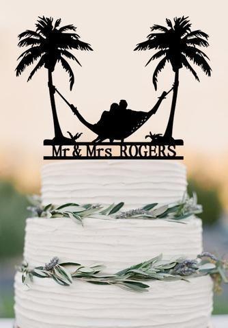 Beach Theme Honeymoon Hammock Wedding Cake Topper Palm Trees Cake