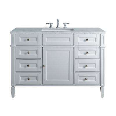 Anastasia French 48 In White Single Sink Bathroom Vanity With Marble Vanity Top And White Basin Single Sink Bathroom Vanity Bathroom Vanity Vanity Sink