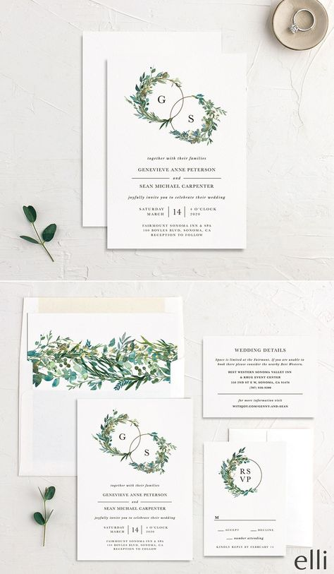 Wedding Save the Date  Botanical Greenery Wedding Suite  #1174