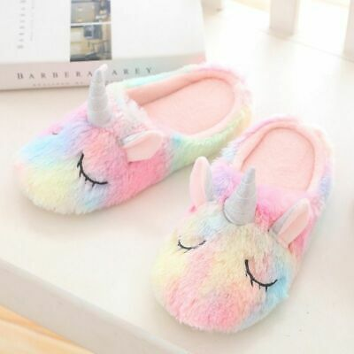 Unicorn Cartoon Slippers Rainbow Indoor Home Slipper Warm Animal Plush Women Unicorn Slippers Cute Slippers Warm Slippers
