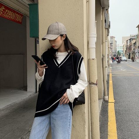Vangull Women Vest Simple All-match Patchwork Korean Style V-neck Knitted Sweater Leisure Student Sleeveless Female Vintage Vest - XL / Black