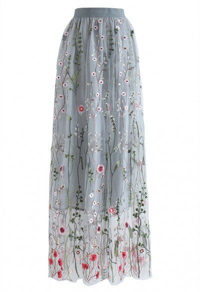 Lost in Flowering Fields Mesh Maxi Skirt in Black - Skirt - BOTTOMS - Retro, Indie and Unique Fashion
