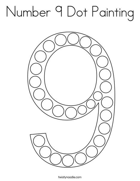 Number 9 Dot Painting Coloring Page Twisty Noodle Numbers