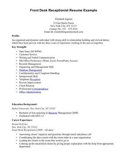 Front Desk Receptionist Resume Front Desk Officer Cover Letter  Httpi12Manage  Pinterest .