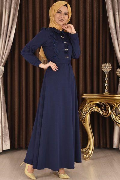 Modamerve On Tasli Ve Dantelli Elbise Lacivert Yag 6326 Elbise Modelleri Elbise Moda Stilleri