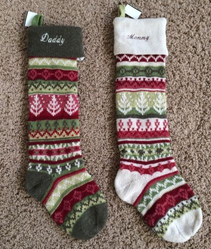 2 Pottery Barn Classic Fair Isle Christmas Stockings Mommy Daddy ...
