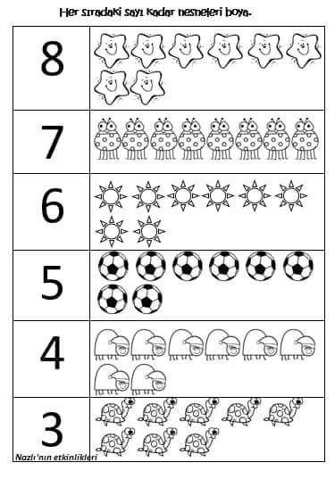 3 4 5 6 7 8 Sayilari Boyama Temel Matematik Matematik Faaliyetler