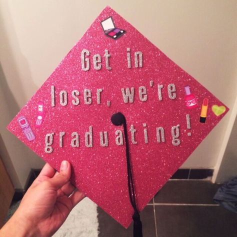 How to wear how to wear graduation cap 15 best outfits Graduation cap, mean girl, pink, college, vcu Quotes For Graduation Caps, Funny Graduation Caps, Graduation Cap Designs, Graduation Cap Decoration, Graduation Diy, High School Graduation, Funny Grad Cap Ideas, Graduation Outfits, Graduation Presents