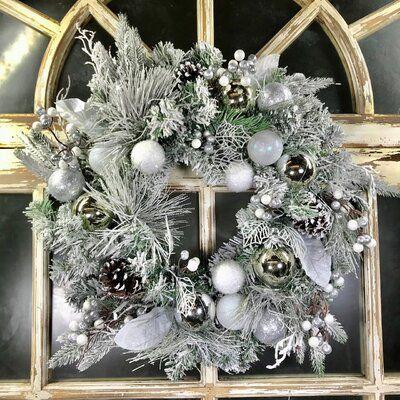 The Holiday Aisle Flocked Mixed Evergreen 24 Polyvinyl Chloride Wreath White Christmas Wreath Christmas Wreaths Silver Christmas Decorations