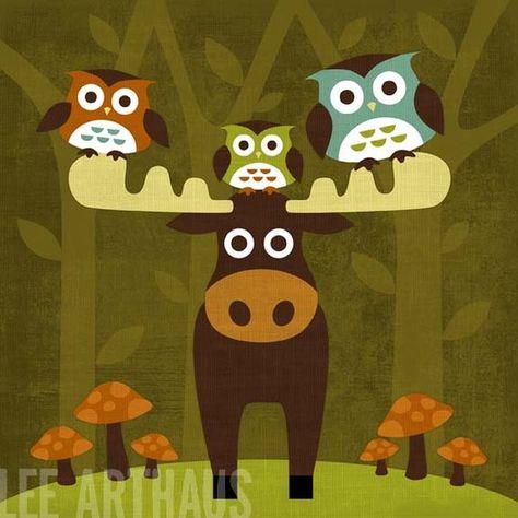 Items similar to Moose Print - Three Owls and Moose Wall Art - Woodland Nursery Decor - Moose Nursery Art - Woodland Theme Nursery - Moose Baby Decor on Etsy