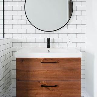 Ikea Godmorgon Ikea Hack Godmorgon Hack Walnut Fronts Modern Vanity Vanity Design Bathroom Vanity Design Ikea Bathroom Accessories Bathroom Design