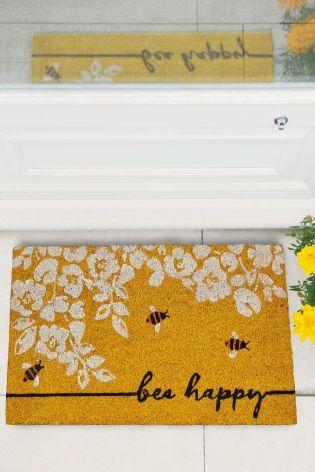 Bee Happy Doormat Door Mat Bee Happy Yellow Bee