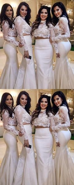 Mermaid Two Pieces Long Sleeves High Neck Sweep Train Wedding Dresses With Lace,VPWG751  #Dresses #High #LaceVPWG751 #Long #Mermaid #Neck #Pieces #sleeves #Sweep #train #Wedding