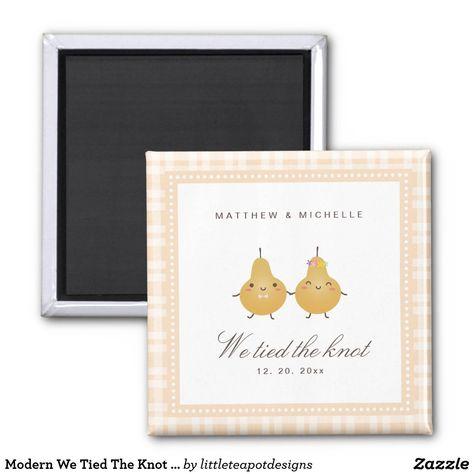 Modern We Tied The Knot Cute Wedding Announcement Magnet #magnet #weddingfavors #weddings #guestfavors #ad