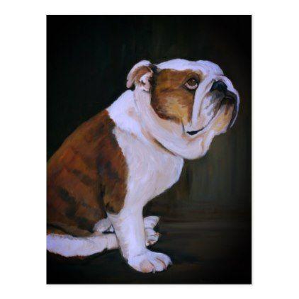 English Bulldog Dog Art Postcard Zazzle Com Blue French