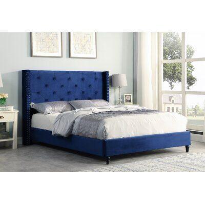 House Of Hampton Sandoval Velvet Upholstered Platform Bed Colour Blue Size Eastern King Velvet Upholstered Bed Grey Upholstered Bed Platform Bed Mattress