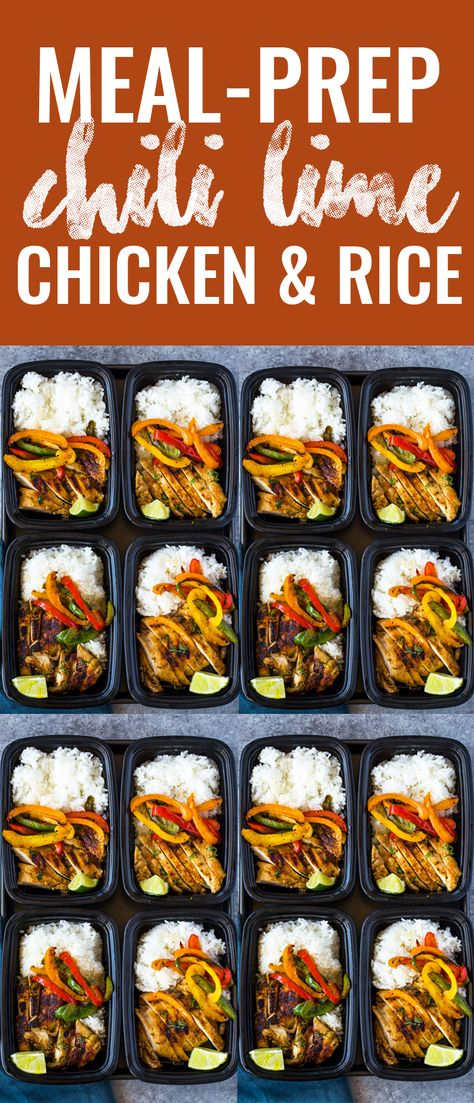 Chili Lime Chicken and Rice Meal Prep Bowls chicken meal prep Chili Lime Chicken and Rice Meal Prep Bowls Easy Healthy Meal Prep, Vegetarian Meal Prep, Easy Healthy Recipes, Easy Meals, Easy Lunch Meal Prep, Simple Meal Prep, Easy Work Lunches Healthy, Meals To Go, Healthy Chicken Recipes For Weight Loss Clean Eating