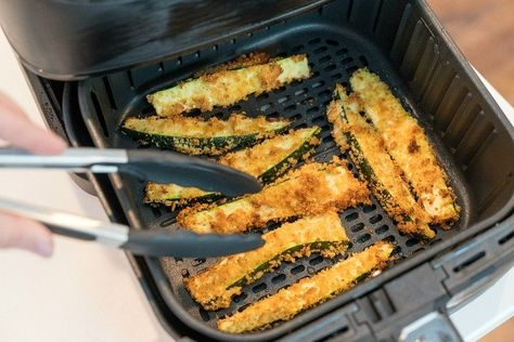 Air fryer zucchini fries or spears are a great side dish or a healthy low carb snack your whole family will love! It's our favorite vegetable air fryer recipe