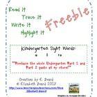 "This freebie is a sample of ""Read It, Trace It, Write It, Highlight It:  Kindergarten Sight Words Part 1"".    This freebie includes sight words: a,..."