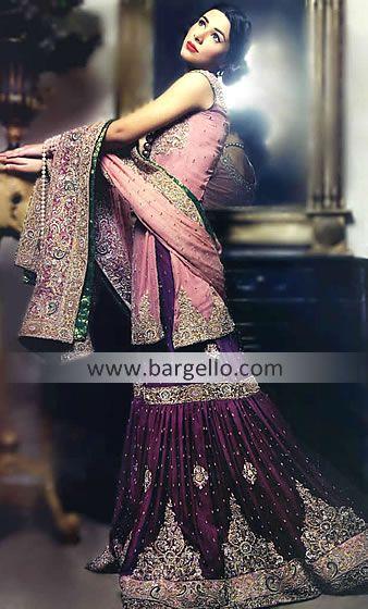 Light Pink Dark Violet & Byzantium Crinkle Chiffon Sharara Indian Pakistani Bridal Dresses For Wedding By Top Designers, Wedding Dresses Pakistani 2012 2013 Bridal Wear
