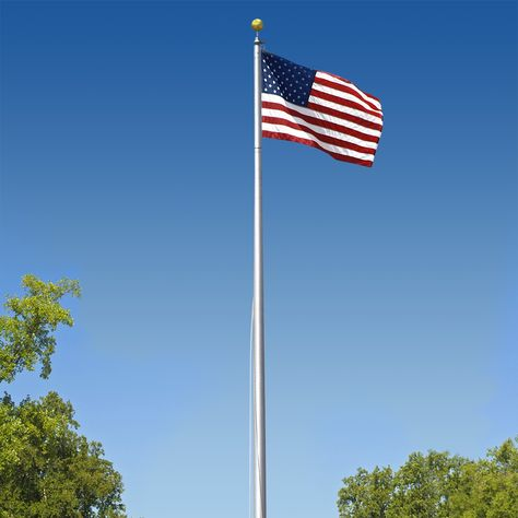Super Tough Commercial Grade Sectional 20ft Flagpole Satin Finish Swimming Pool Chlorine Pool Chlorine Flag Store
