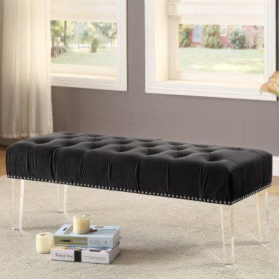 Meridian Furniture Inc Celine Velvet Entryway Bench   101BLACK | Entryway  Bench And Products