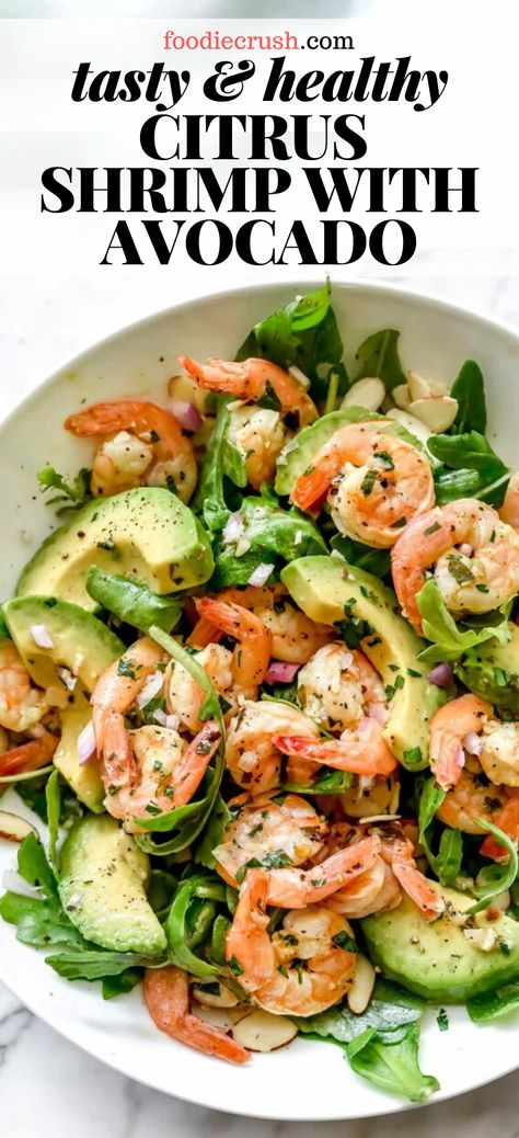 TASTY HEALTHY CITRUS SHRIMP SALAD WITH AVOCADO This simple but totally flavorful shrimp salad makes the perfect meal-prep meal for lunch or dinner thanks to pan-seared citrus-flavored shrimp creamy avocado and the crunch of sliced almonds Shrimp Recipes For Dinner, Fish Recipes, Seafood Recipes, Cooking Recipes, Dinner Recipes With Avocado, Meals With Shrimp, Simple Shrimp Recipes, Healthy Avocado Recipes, Avacado Dinner
