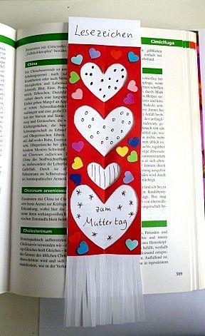 Zeitvertreibbasteln Muttertag Lesezeichen Muttertag