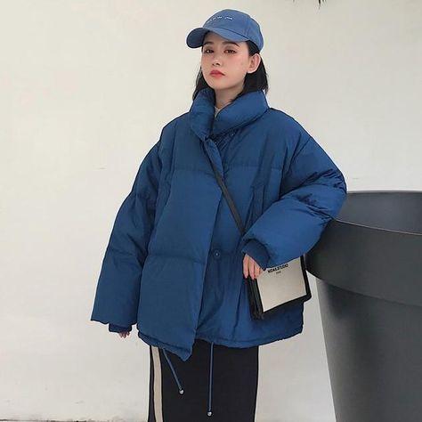 Oversized Basic Down Jacket - Blue / S