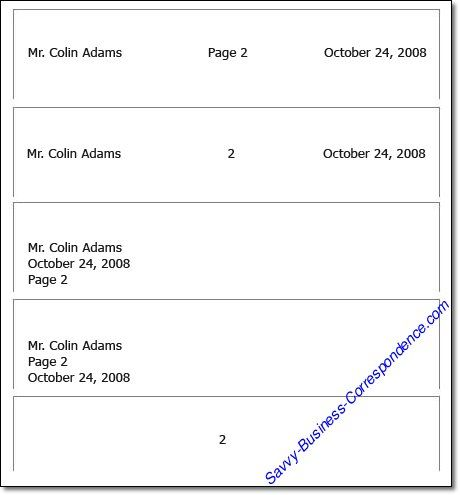 Multiple page business letter How to format the header of the - business letters