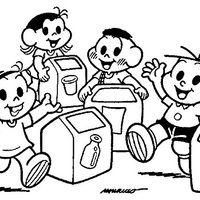 Desenho De Turma Da Monica Reciclagem De Lixo Para Colorir Com