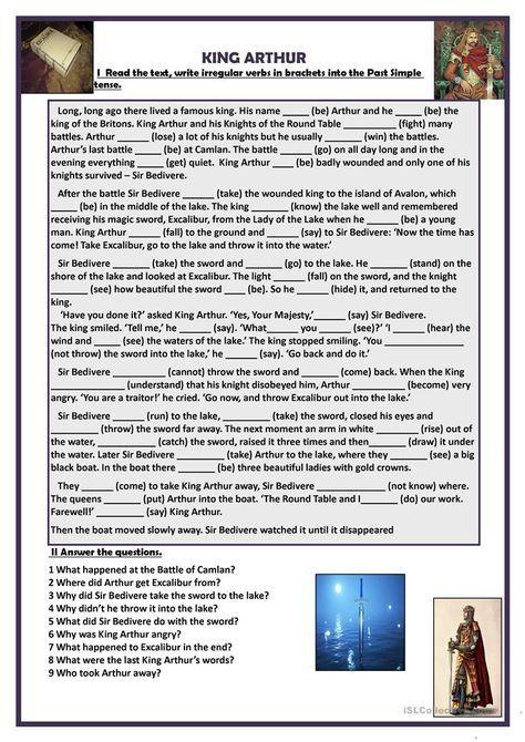 King Arthur Worksheet Free Esl Printable Worksheets Made By Teachers Teaching English Grammar Esl Reading English Reading