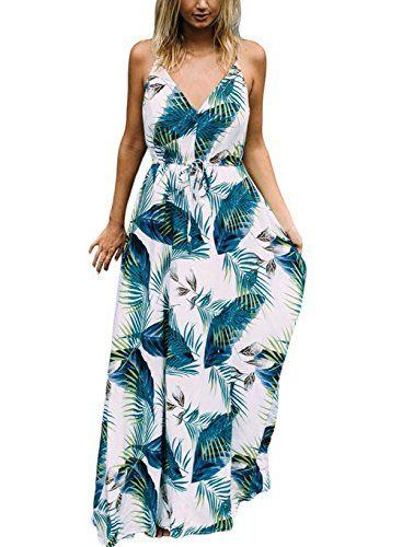 a7e10ccfbe438 Kinikiss V Ausschnitt Kleid Damen Strandkleid Sommerkleid Lange ...