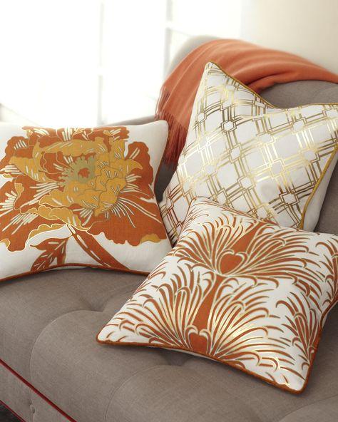 Gold & Orange Pillow Collection - Antonio Aguilar ( Pillows / throws Fabric Classic Pattern White Orange Gold Decor)