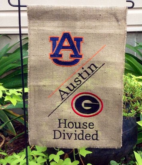 House Divided Monogrammed Burlap Garden by OhSewStitchin on Etsy