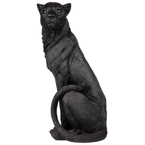 Pensive Panther Black Jaguar Statue