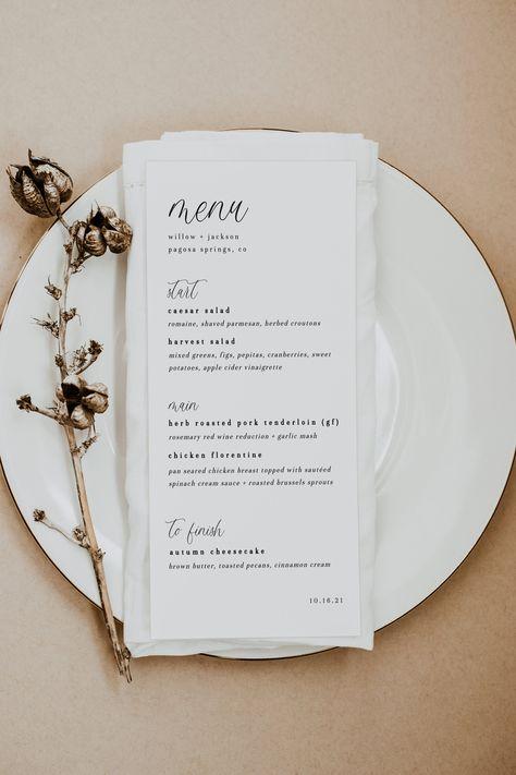 Editable Wedding + Event Stationery Templates by NikiPressDesigns Rehearsal Dinner Menu, Wedding Rehearsal, Wedding Reception, Wedding Dinner Menu, Brunch Wedding, Wedding Breakfast, Wedding Stationary, Wedding Invitations, Invites