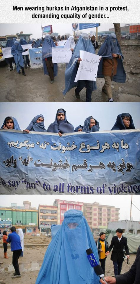 Say No To All Forms Of Violence. Men in Afghanistan put on burqas and march for gender equality.