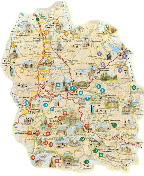 Carte touristique de la Lozère
